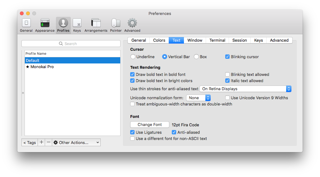 Customization options for iTerm 2